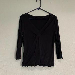 Black V-Neck 3/4 Sleeve Top